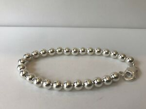 Rund Perlenbesetzt Massiv 925 Sterling Silber Handgelenk-armband / 22.9cm Mit /