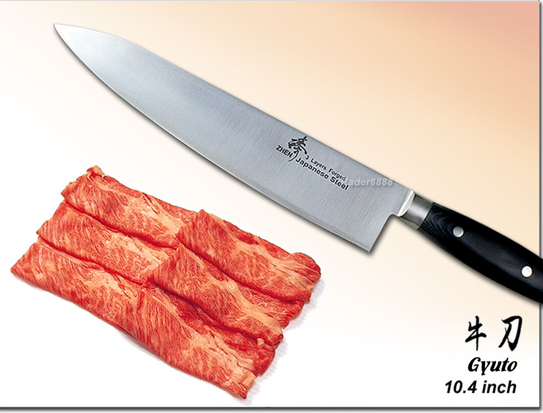 Japanese Steel Gyuto Chef's knife 10.4 inch Meat Cutting Slicer Polishing Blade