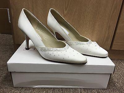 Marfil Satén Dama De Honor Boda Nupcial Blanco Apagado Zapato todas las tallas estilo Fiji
