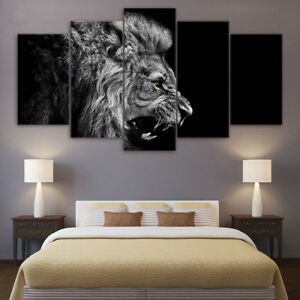 Roaring Lion Face Side View 5 Panel Canvas Print Wall Art