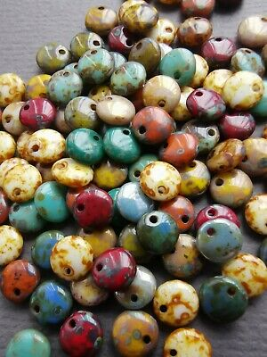 Czech pressed glass lentil flat disc large beads 12 mm pack of 10