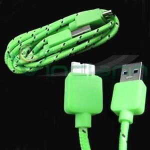 Cavo-dati-USB-3-0-Tessuto-Nylon-VERDE-specifico-per-Samsung-Galaxy-S5-G900F