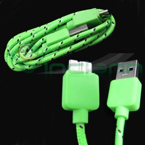 Cavo dati USB 3.0 Tessuto Nylon VERDE specifico per Samsung Galaxy Note 3 N9005