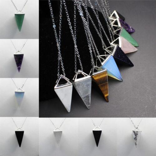 2 Pcs Natural Gemstone Crystal Quartz Healing Reiki Pendulum Pendants Chain