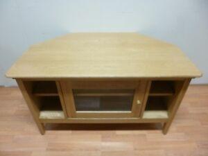 484f90318fc3 New Contemporary Solid Oak Glazed Corner TV Unit Stand Cabinet *Ex ...