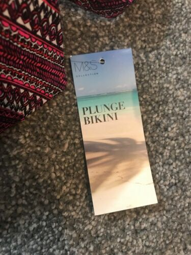 M/&S U//Wired Padded Plunge Bikini Top 36 D Pink Black Mix BNWT Free P/&p