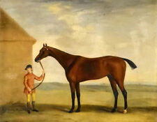 Oil painting portrait of henry comptons race horse highflyer held by a groom 24""