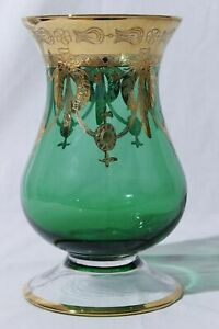 Bohemian-Art-Nouveau-Green-Gilt-Glass-Vase-9-034-Tall