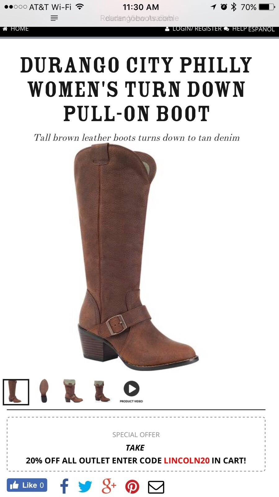 Durango Philly Turn Down Tall Boots Brown Rd048 Women's 11 M