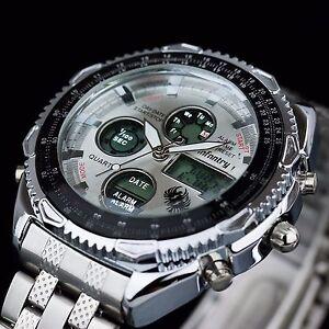 INFANTRY-Mens-LED-Digital-Quartz-Watch-Chronograph-Sport-Silver-Stainless-Steel