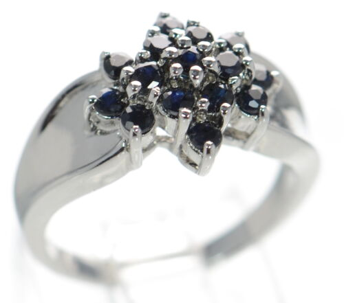Solid 925 Sterling Silver Genuine Sapphire Flower Shaped Cluster Ring Size-9 /'