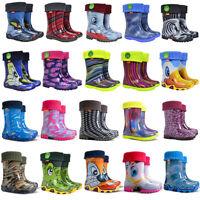 DEMAR Kinder Gummistiefel gefüttert Regenstiefel mit Innenschuhen Stiefel