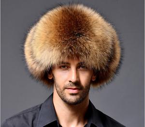 Ushanka Men s Winter Real Raccoon Fur Lamb Leather Russian Cossack ... 90145bd3d40a