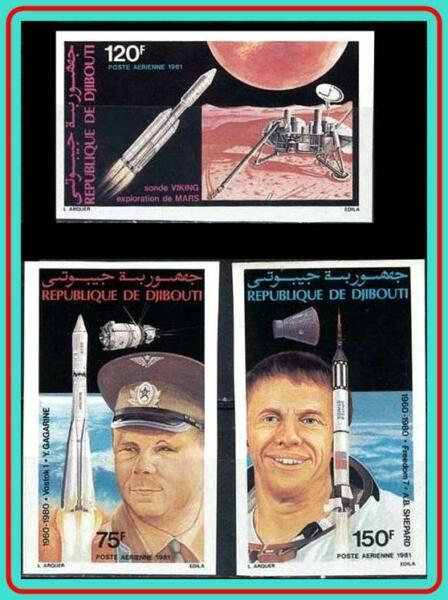 Djibouti 1981 Space Anniversaires Imperforated Neuf Sans Charnière Gagarin Cv$ 35.00