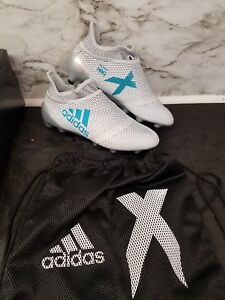 aa9191d68 Adidas X 17+ PureSpeed FG Youth Soccer Cleats White/Blue/Grey Sz 5 ...