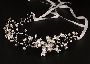Silver-Wedding-Bridal-Crystal-Diamante-Headband-Ribbon-Flower-Tiara-Hair-Comb