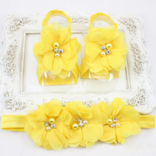 0-12Month Baby Girl Barefoot Sandals Christening Wedding Soft Flower Shoes NR7Z
