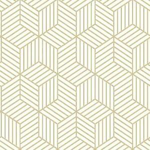 Roommates Rmk10704wp Stripped Hexagon Whitegold Peel Stick