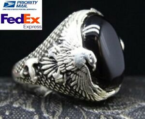 925 Sterling Silver Turkish Jewelry Eagle Style Black Onyx Stone Mens All Size