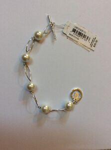 Ralph-Lauren-039-Romantic-Rebel-039-Faux-Pearl-Silvertone-Toggle-Bracelet-408