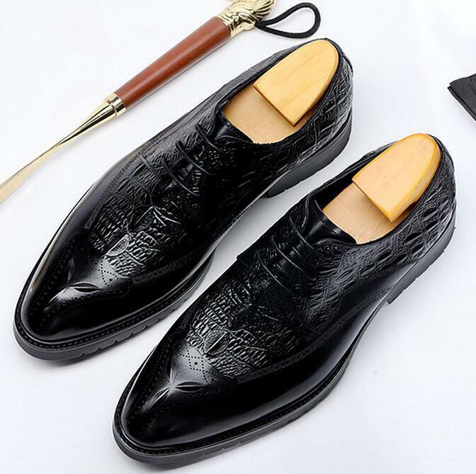 Echtleder Business-Schuhe Herren Budapester Schnürer Reptil-Optik Anzug-schuhe
