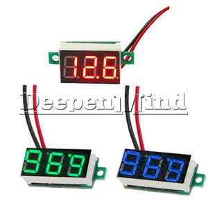 Red-Blue-Yellow-Grreen-0-36-034-2-Wire-LED-Panel-Meter-Voltage-Digital-Voltmeter