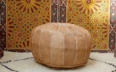 Moroccan Leather Pouf Ottoman Foot Stool, Handmade in Marrakech, Light Tan PL17