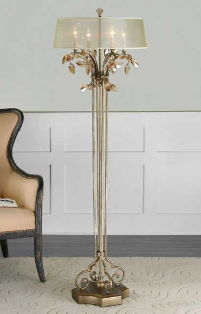 Mansion Chandelier 65 Burnished Gold Metal Floor Lamp Teal Crystal Leaf
