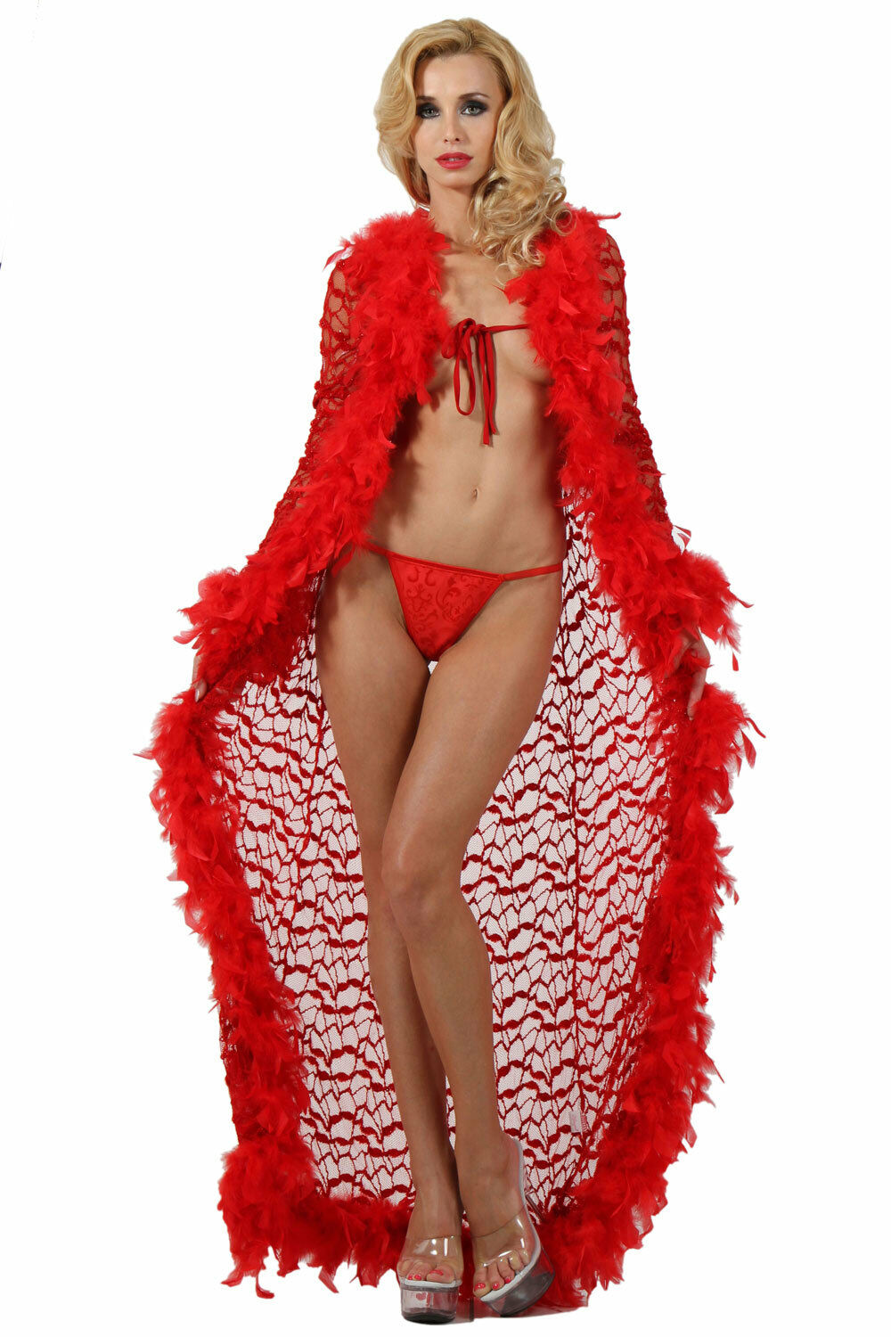 adc7d93969b bathrobe dress gown burlesque pinup red feathers sexy lace Undressed  dressing nuldrr17535-Nightwear
