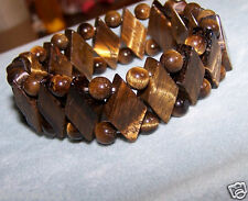 Ross Simons Tiger Eye Tigers Eye stretchy  wide beaded ball Bangle Bracelet