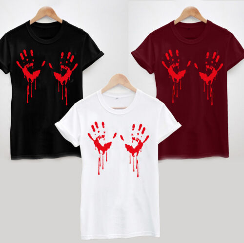 T-shirt mains sanglantes-Halloween Effrayant mains boobs Drôle Blague Pour Femme