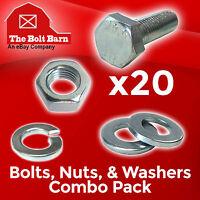 (20) M6-1.0x20 Class 10.9 Hex Cap Screws Hex Bolts, Nuts, Washers, Lock Washers
