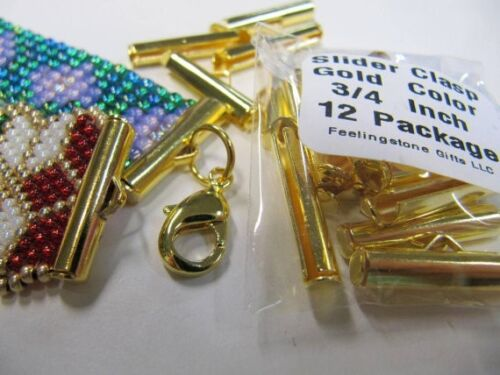 Loom Findings Loom Bead Patterns End Caps Slider Clasps 3//4 inch Gold Color