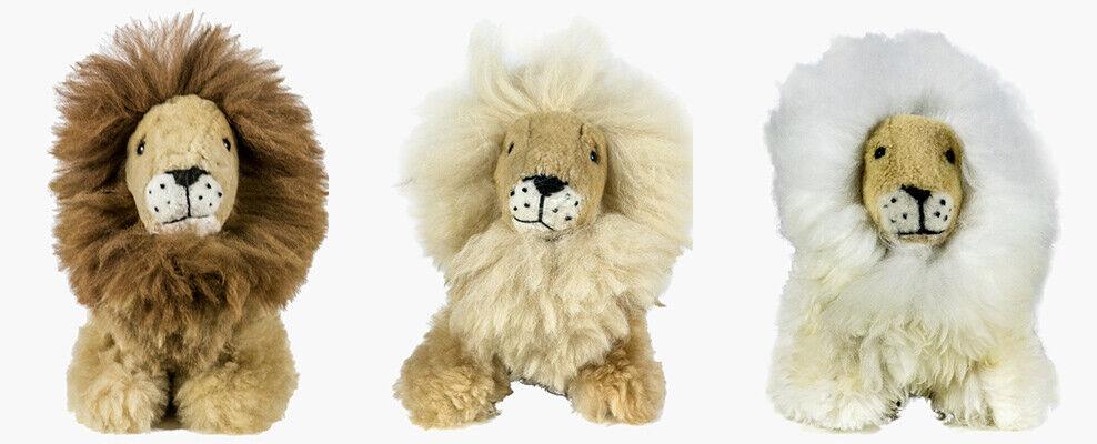 Handmade, Soft Alpaca Fur Toy Lion, Brown, White, Light Brown, Medium & Large