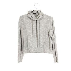 Athleta-Sweater-Gray-XXS-Cropped-Cowl-Sweatshirt-Long-Sleeve-Modal-Drawstring
