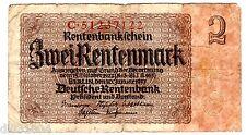 Allemagne GERMANY Billet 2 RENTENMARK 1937 P174 BON ETAT