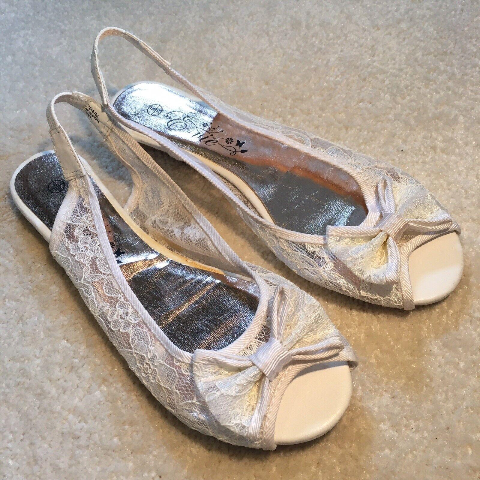 """E-vie"" Ladies Summer Peep Toe Shoes - White Lace + Bow - UK Size 6 EUR 39 - New"
