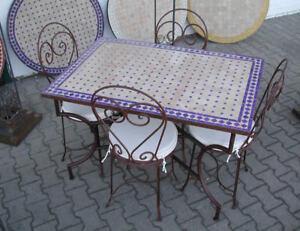 Mosaik Esstisch 120 X 80 Cm Gartentisch Garten Mobel Mosaiktisch
