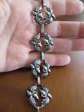 """Vintage Art Deco Danecraft Sterling Silver Acorn Oak Leaf Links Bracelet 7.25"""""""