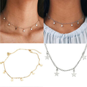 135630647cb5b Details about Vintage Retro Women Star Choker Collar Necklace Simple Gold  Chain Boho Jewelry