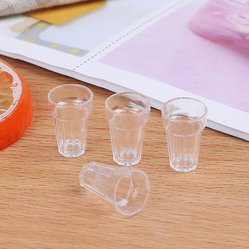 4pcs 1//12 dollhouse miniature clear wine drink cups toys kids doll accessory  VY