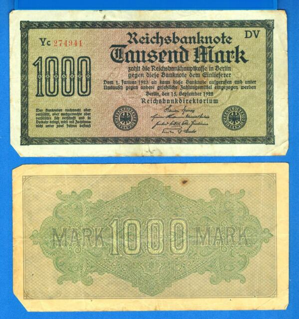 Germany P-76 1,000 Marks. Dated 15.9.1922 Circulated Banknote Europe