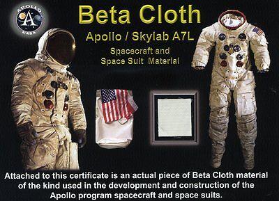 Authentic Fragment of Apollo Spacesuit Beta Cloth Fabric on Beautiful COA |  eBay