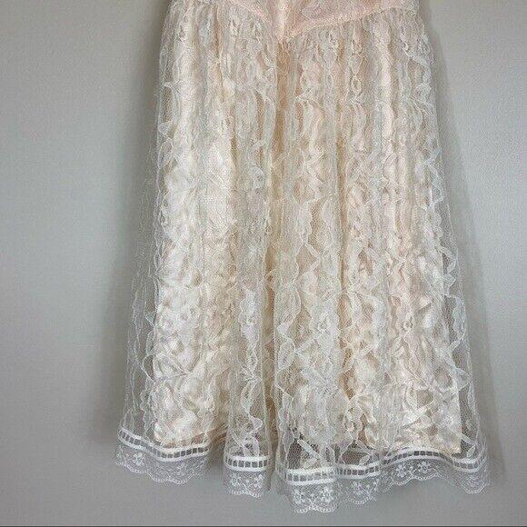 Gunne Sax girls lace dress cream shortsleeved - image 10