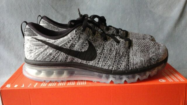 Nike Flyknit Max Mens Running Shoes 12 White Black Oreo 620469 105