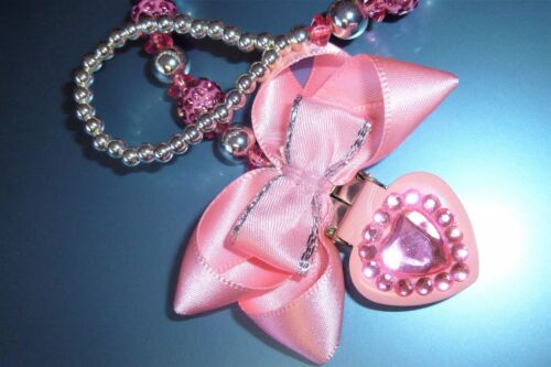 Pink Shamballa Heart Bow Crystal Bling Baby Romany dummy pacifier clip chain