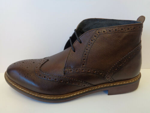 Mens Grain Brown Brogue Leather Base London Lace Up Boots Trick