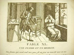 Fable Xl Une Femme Et Un Médecin C1800 A Woman And A Medic Story Gravure Toujours Acheter Bien