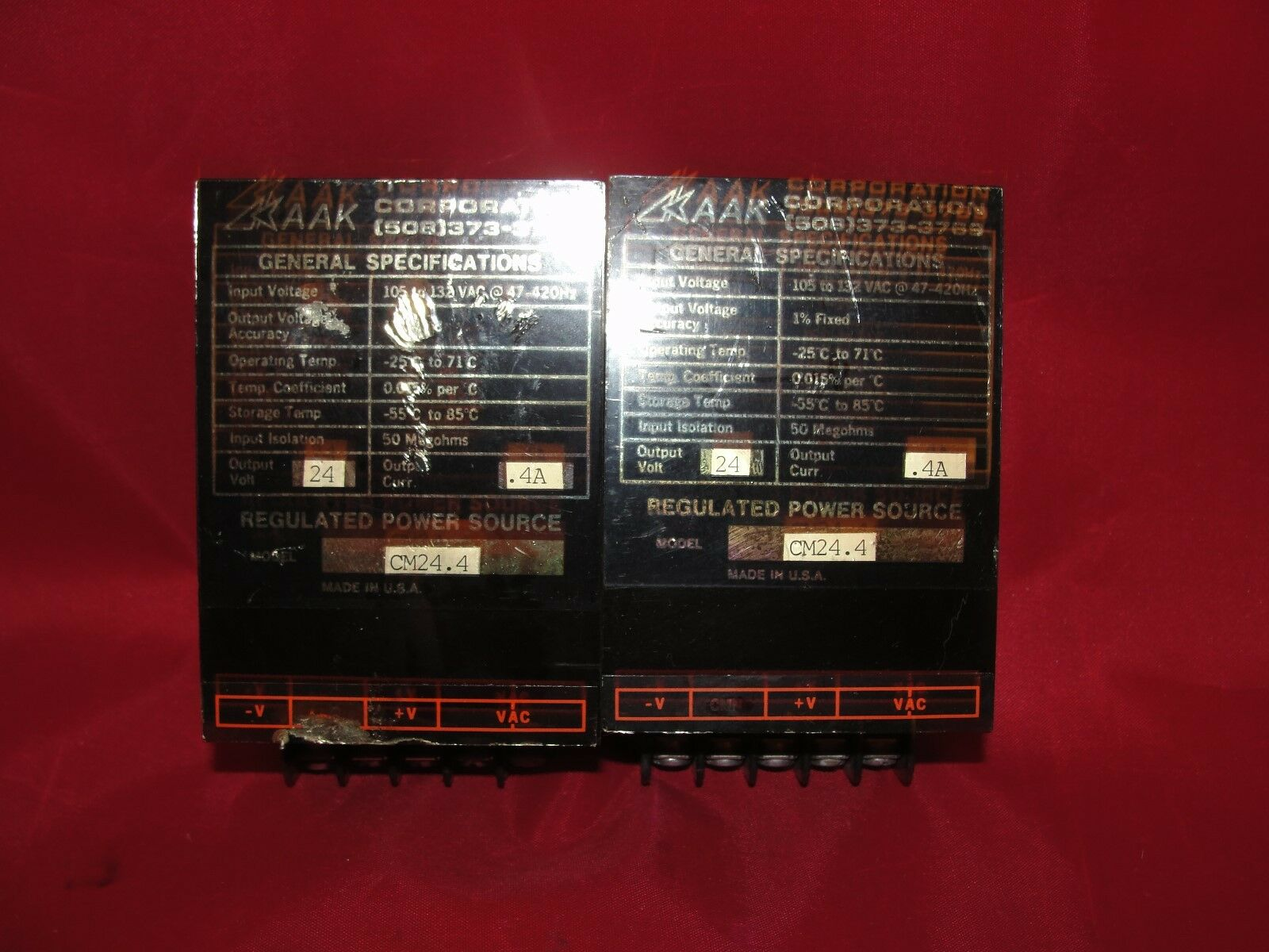 AAK Regulated Power Source CM24.4 Lot of 2 105-132 VAC 24V .4A