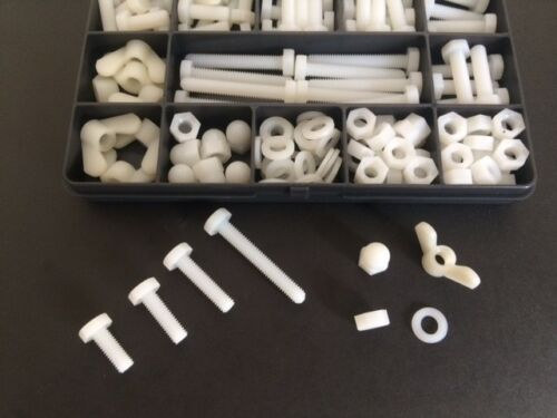 M6 Nylon Plastic Bolts Screws Nuts and Washers Nylon Fastener Kit 136 Pieces